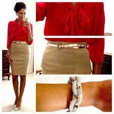 Resultado de imagen para khaki pencil skirt outfits