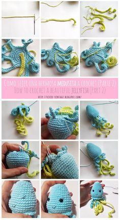 How to crochet the most beautiful jellyfish (Free amigurumi pattern with step by step pictures) Crochet Applique Patterns Free, Crochet Animal Patterns, Crochet Patterns Amigurumi, Free Pattern, Crocheted Jellyfish, Crochet Octopus, Crochet Dragon, Crochet Round, Cute Crochet