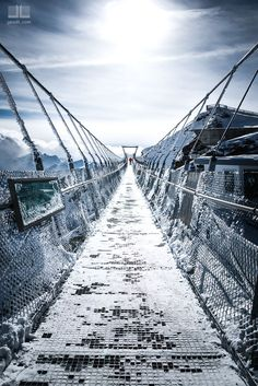 Mount Titlis - the highest suspension bridge in Europe at 3040m high. Switzerland