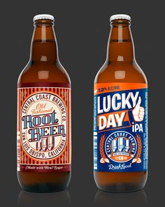Central Coast Brewing: Old Fashioned Root Beer & Lucky Day IPA.
