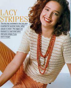 PDF Digital Vintage Crochet Pattern Ladies Short Sleeve Sweater Top Bust 76-101 cm 4 ply yarn 2 50 and 4 mm hooks