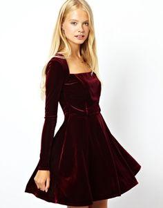 ASOS Velvet Skater Dress at asos.com 16d4c3cab237