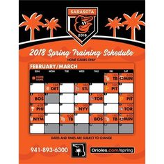 Start planning your next trip to sunny Sarasota the #Orioles 2018 Spring Training home schedule has been released: Orioles.com/Spring  Mark your calendars: Jan. 13: Single game tickets go on sale Feb. 13: Pitchers & Catchers report... Feb. 18: Full-squad reports  Feb. 23: 1st home game 1:05 vs TB  Single game tickets for all 16 games at Ed Smith Stadium will go on sale Saturday January 13 2018 at 10:00 a.m. Fans interested in Season Plans or those wishing to receive additional Spring…