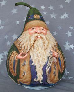 Father Christmas, Christmas Snowman, Christmas Ornaments, Santa Paintings, Light Bulb Crafts, Gourds Birdhouse, Hand Painted Gourds, Gourd Art, Craft Sale