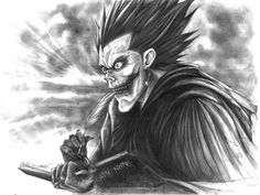 Ryuk by cpn-blowfish on DeviantArt Dramas, Death Note Fanart, 1 Tattoo, Devil Tattoo, Drawing Sketches, Drawings, Def Not, Japanese Tattoo Art, Anime Tattoos