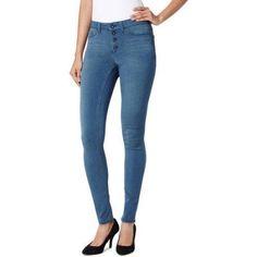 L.E.I. Juniors' Triple Button High Rise Jean, Size: 15, Gray
