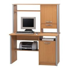 Tvilum Geneva Computer Desk and Hutch in Beech for 209: 	23.5 x 46.3 x 57.5