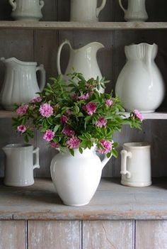 who knew there could be so many varieties of a simple but beautiful ironstone pitcher Color Splash, Belgian Pearls, White Dishes, White Pitchers, John Wood, Country Living, Modern Country, Country Life, Country Style