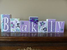 personalized name block letters purple teal flowers custom wooden letter sign baby