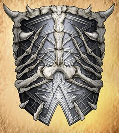 Bone Shield by teamzoth Armor Concept, Weapon Concept Art, Fantasy Armor, Fantasy Weapons, Bone Weapons, Magic Armor, Zbrush, Armor Tattoo, Norse Tattoo