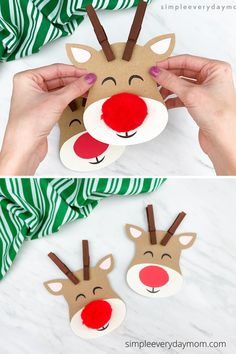 Make this cute reindeer craft with the kids this Christmas! Download the free template and make with preschool, pre k, and kindergarten children at home or at school!
