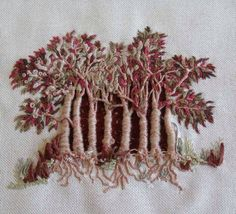 Francine Leclercq, embroidery, trees