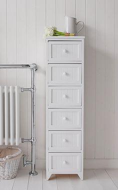 Maine 6 drawer bathroom furniture, a tall cabinet