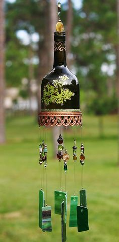"Embellished Wine Bottle Wind Chime  - ""Evergreen""  Made From Stained Glass, Embellished Green Wine Bottle, Up-cycled Piece, Beads, Crystals"