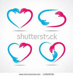creative heart shape design with hand , love sticker