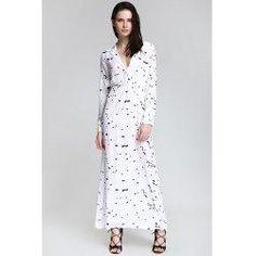 trendsgal.com - Trendsgal Shirt Neck Long Sleeve Ink Print Maxi Dress - AdoreWe.com