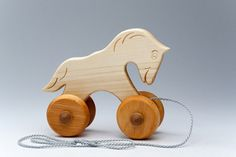 Wooden Horse On Wheel  Toddler Gifts  Carved Animals