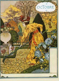 Eugène Grasset | October | Dessins pour le calendrier de La Belle Jardinière (1896)