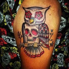 Owl and skull tattoo - Jason Casas - Iron Eagle Tattoos #tattoo #owltattoo