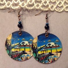Mars Attacks Up-Cycled Earrings, sci-fi earrings, cereal box earrings by NCSustainableStyle on Etsy
