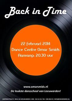 Flyer voor de Back in Time soos bij Dance Centre Omar Smids