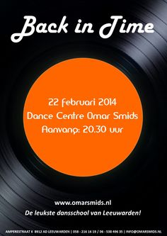 Flyer voor de Back in Time soos bij Dance Centre Omar Smids