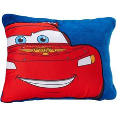 This Disney Cars Toddler Pillow is sized just right for your little Lightning McQueen fan. Your toddler will love cuddling with this soft and comfy pillow. It features a fun oversized Lightning image on blue, complete with big fender smile.