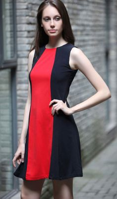 16567e03a5 Hit color round neck sleeveless stitching dress always trendy strip style  Cute Cheap Summer Dresses