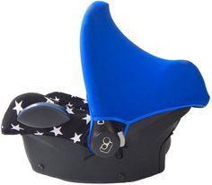 black zwarte sterren maxi cosi hoes car seat cover stars kobalt blauwe zonnekap cobalt blue sun hood canopy babyschale bezug ersatzbezug sonnendach