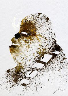 Star Wars Paint Splatter Art For Modern Interior Design - Chewbacca