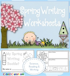 Spring Writing Worksheets Science, Reading and Writing - 80 pages K-1
