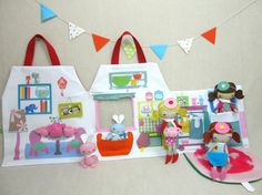 Dollhouse PlayhouseTote with Pocket Studio Doll by ViolaStudio.  So expensive, but so amazing!