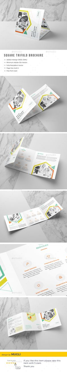 Square Trifold Brochure — InDesign INDD #corporate #clean • Download ➝ https://graphicriver.net/item/square-trifold-brochure/19897543?ref=pxcr