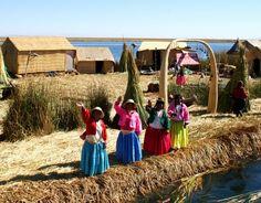 Uros floating islands in Titicaca lake, Puno, Peru.