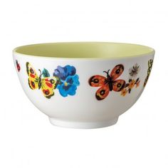 Yellow butterfly and flower bowl