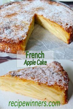 French Apple Cake is typical of French provincial home cooking. Jam packed with layers of apples laced with a fine batter, it is more a crustless tart than a cake. Delicious served cold with some honey ice cream or hot with a custard. Apple Cake Recipes, Apple Crisp Recipes, Apple Desserts, Just Desserts, Delicious Desserts, Apple Cakes, Recipe For Apple Cake, Apple Kuchen Recipe German, Apple Custard Cake Recipe