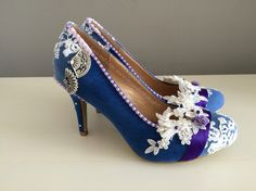 Something blue shoes with lace and accents of purple. Perfect shoes for a bride to be.
