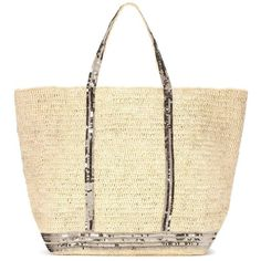 Vanessa Bruno Cabas Grand Embellished Raffia Shopper ($245) ❤ liked on Polyvore featuring bags, handbags, tote bags, neutrals, beige handbags, beige tote bag, beige purse, shopper tote and beige tote