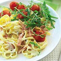 Recept - Pasta carbonara met rucola en tomaatjes - Allerhande