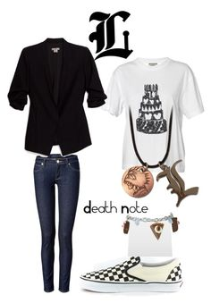 """""""L, from Death Note"""" by blackrabbitmegapig ❤ liked on Polyvore featuring By Malene Birger, Juicy Couture, Helmut by Helmut Lang, GE, Vans and Dolci Gioie"""