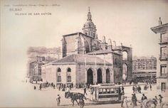 Tranvia Urbano de Bilbao, tranvia de Mulas en San Antón, Postal comercial , fondo MVF
