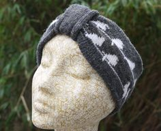 Knitted headband - turban with pretty birds on a wire design, wear as a cowl too £15.00