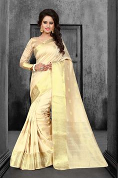 Buy Beige Tussar Silk Saree With Blouse 67599 with blouse online at lowest price from vast collection of sarees at Indianclothstore.com.