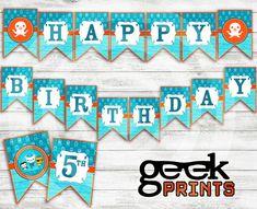 Happy Birthday Banner with Octonauts Theme by GeekPrintsandGifts