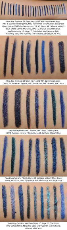 COMPARISON / DUPES :: Navy Blue Eyeliners :: CLICK for in depth descriptions of each, individual reviews, multiple CLOSE-UP PIX, :: I really like MAC Blooz, NARS Rue Saint-Honore, Petrol Blue (MAC Fly-By Blue is pretty too, albeit a touch lighter)   | #temptalia