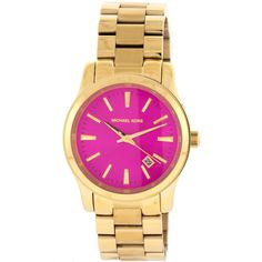 Michael Kors Women's MK5801 'Runway' Pink Dial Goldtone Stainless Steel Watch | Overstock™ Shopping - Big Discounts on Michael Kors Michael Kors Women's Watches