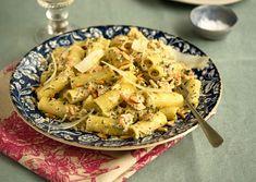 rigatoni with smoked trout, zucchini, and lemon
