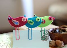 Felt bird bookmarks