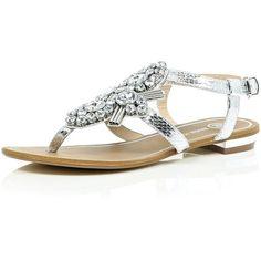 ef85702c232542 River Island Silver gem embellished sandals ( 70) ❤ liked on Polyvore