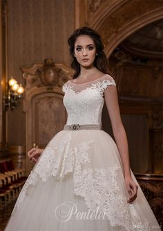 Short Sleeves Wedding Dresses Dubai 2017 Pentelei with Peplum And Crystals Sash Appliques Tulle Big Ball Gown Robe De Mariage Custom Made Vestidos De Novia Wedding Dress 2017 Robe De Mariage Online with $225.72/Piece on Grace2's Store | DHgate.com